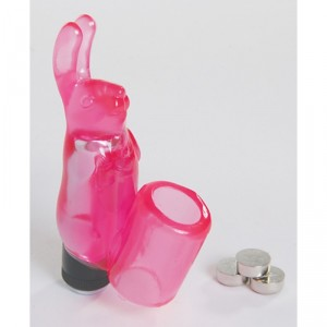 Rabbit Silicone Finger Sleeve Vibe ~ Pink (Batts Inc)