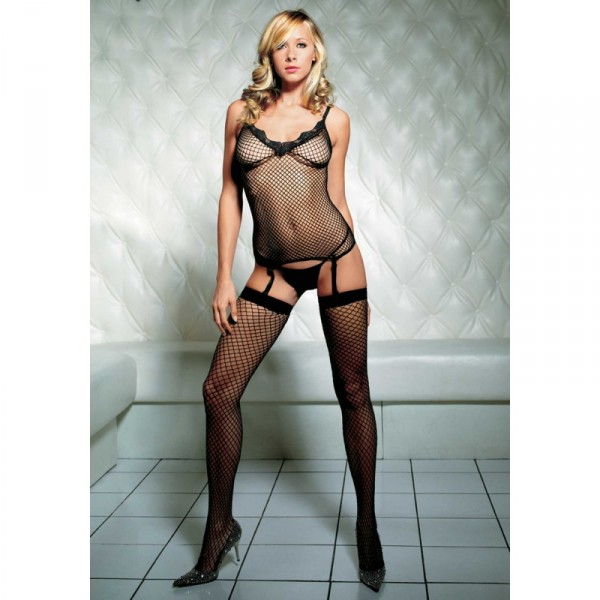 Industrial Net Cami Garter Set