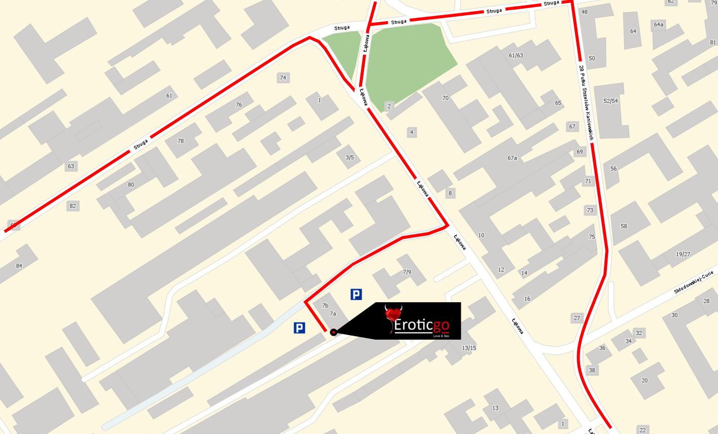 Łąkowa 7A Łódź Eroticgo - mapa dojazdu