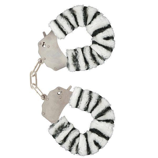 Kajdanki z futerkiem zebra